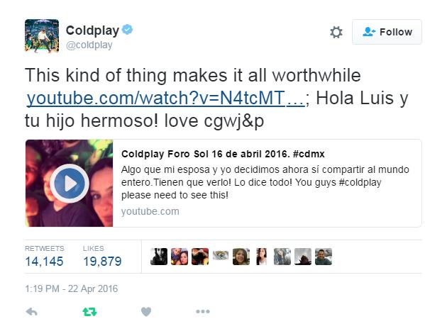 Coldplay's Tweet